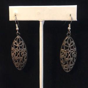Vintage Filigree Style Metal Drop Earrings